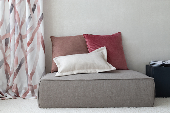 Dekorationsstoff Bamboo in plum aus der Indes Kollektion Soft Breeze.